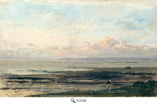 Charles Daubigny, Beach at Low Tide oil painting reproduction