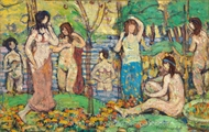 Beach No. 3 painting reproduction, Maurice Prendergast