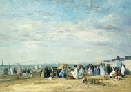 Beach of Trouville painting reproduction, Eugene-Louis Boudin