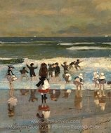 Beach Scene painting reproduction, Winslow Homer