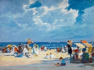 Beach Scene painting reproduction, Edward Henry Potthast