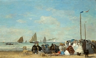 Beach Scene at Trouville painting reproduction, Eugene-Louis Boudin