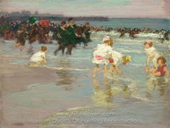Beach Scene (Sunday on the Beach) painting reproduction, Edward Henry Potthast