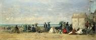 Beach Scene, Trouville painting reproduction, Eugene-Louis Boudin