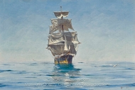 Becalmed in Chilean Waters painting reproduction, Thomas Jacques Somerscales