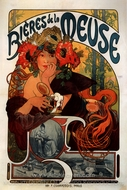 Beer of the Meuse painting reproduction, Alfonse Mucha