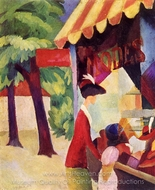 Before the Hat Shop painting reproduction, August Macke