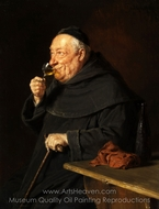 Benedictine Monk with Wine at the Morning painting reproduction, Eduard Von Grutzner