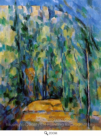 Paul Cézanne, Bent in Forest Road oil painting reproduction