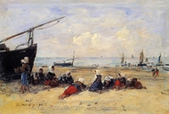 Berck, Fisherwomen on the Beach, Low Tide painting reproduction, Eugene-Louis Boudin