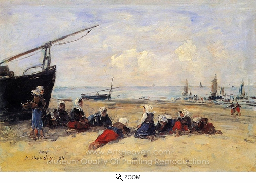 Eugene-Louis Boudin, Berck, Fisherwomen on the Beach, Low Tide oil painting reproduction