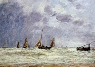 Berck, the Departure of the Boats painting reproduction, Eugene-Louis Boudin