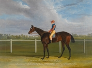 Bessy Bedlam, Bay Racehorse with Jockey Up on a Racecourse painting reproduction, John Frederick Herring Sr.