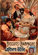 Biscuits Champagne Lefevre Utile painting reproduction, Alfonse Mucha