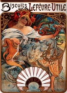 Biscuits Lefevre Utile painting reproduction, Alfonse Mucha