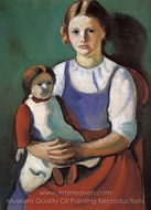 Blond Girl with Doll painting reproduction, August Macke