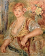 Blonde Girl with a Rose painting reproduction, Pierre-Auguste Renoir