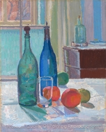 Blue and Green Bottles and Oranges painting reproduction, Spencer Frederick Gore