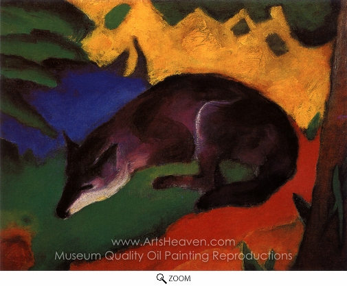 Franz Marc, Blue Black Fox oil painting reproduction