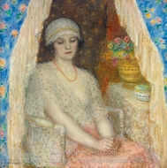 Blue Curtains painting reproduction, Frederick Carl Frieseke