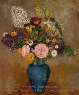 Blue Vase of Flowers painting reproduction, Odilon Redon