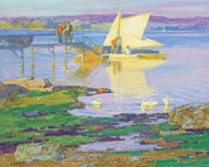 Boat at Dock painting reproduction, Edward Henry Potthast