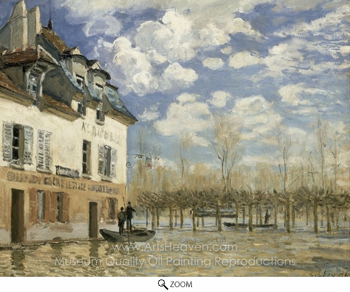 Alfred Sisley, Boat in the Flood at Port Marly oil painting reproduction