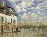 Boat in the Flood at Port Marly painting reproduction, Alfred Sisley