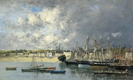 Boats at Anchor in the Harbor, Portrieux painting reproduction, Eugene-Louis Boudin
