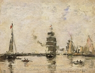 Boats in Trouville Harbor painting reproduction, Eugene-Louis Boudin