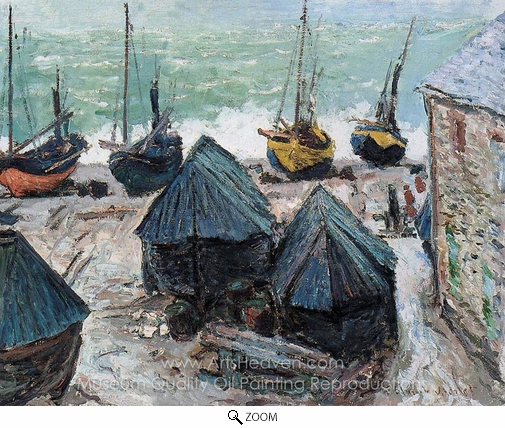Claude Monet, Boats on the Beach at Etretat oil painting reproduction