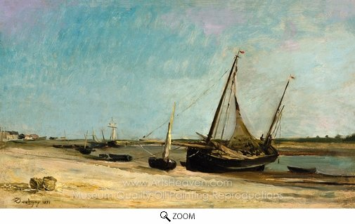 Charles Daubigny, Boats on the Seacoast at Etaples oil painting reproduction