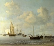 Boats Pulling Out to a Yacht in a Calm painting reproduction, Willem Van De Velde, The Elder