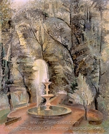 Borghese Gardens No.1, Water Fountain painting reproduction, Alice Bailly