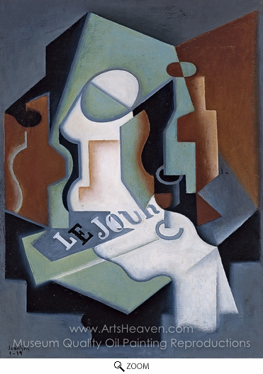 Juan Gris, Bottle and Fruit Dish oil painting reproduction