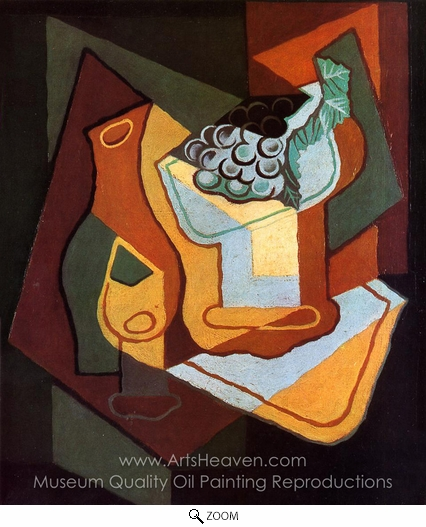 Juan Gris, Bottle, Wine Glass and Fruit Bowl oil painting reproduction