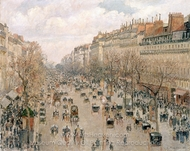Boulevard Montmartre in Paris painting reproduction, Camille Pissarro