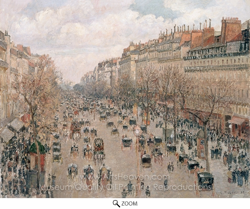 Camille Pissarro, Boulevard Montmartre: Afternoon Sunlight oil painting reproduction