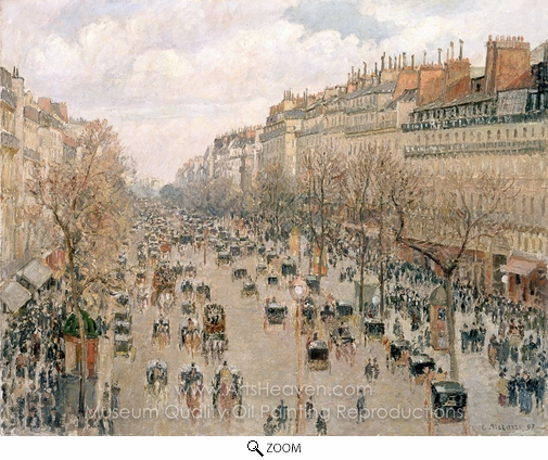 Camille Pissarro, Boulevard Montmartre in Paris oil painting reproduction