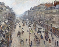 Boulevard Montmartre, Morning, Cloudy Weather painting reproduction, Camille Pissarro