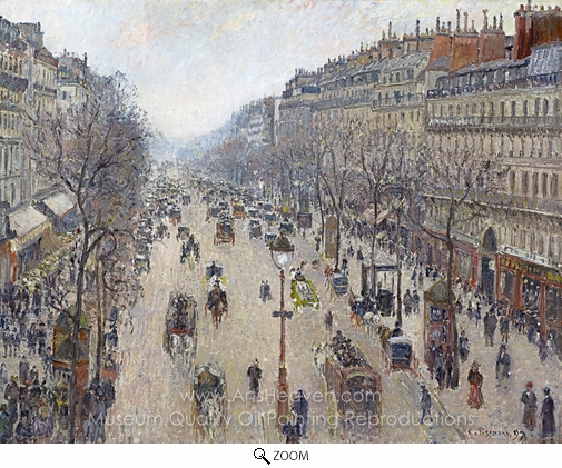 Camille Pissarro, Boulevard Montmartre, Morning, Cloudy Weather oil painting reproduction