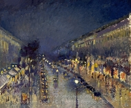 Boulevard Montmartre: Night Effect painting reproduction, Camille Pissarro