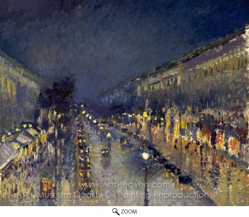 Camille Pissarro, Boulevard Montmartre: Night Effect oil painting reproduction