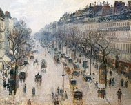 Boulevard Montmartre: Winter Morning painting reproduction, Camille Pissarro