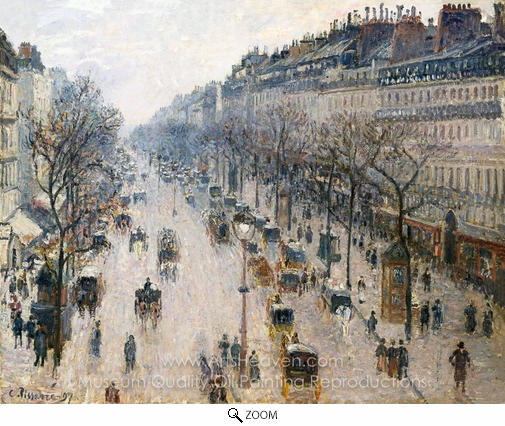Camille Pissarro, Boulevard Montmartre: Winter Morning oil painting reproduction