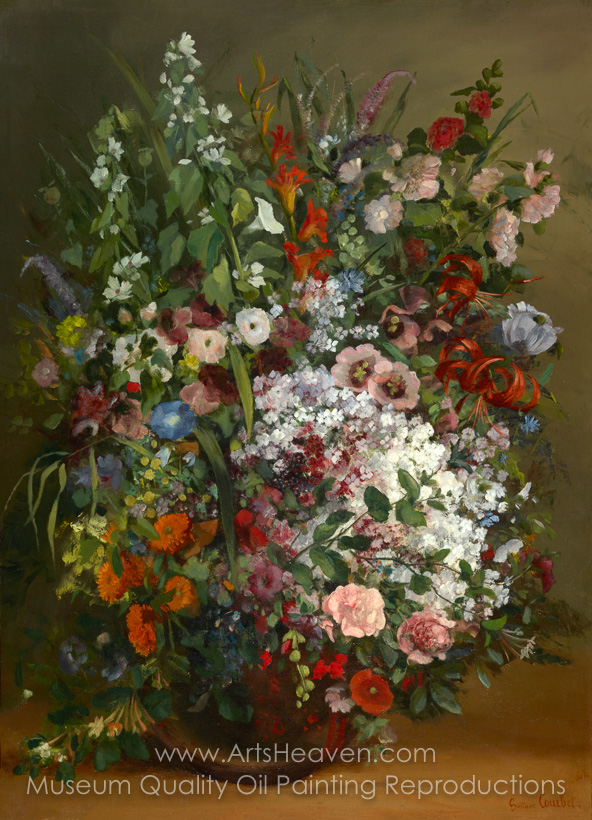 Reproduction Painting Gustave Courbet Bouquet of Flowers in a Vase ...