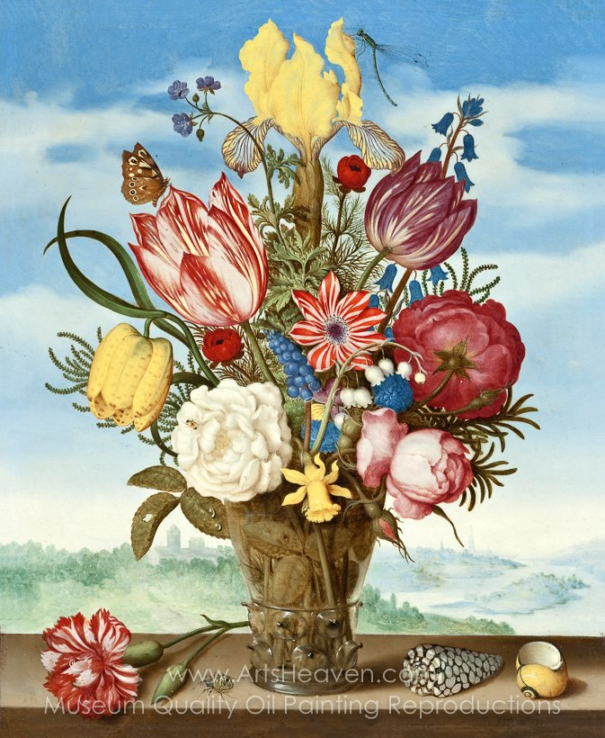 Reproduction Painting Ambrosius Bosschaert Bouquet of Flowers on a ...