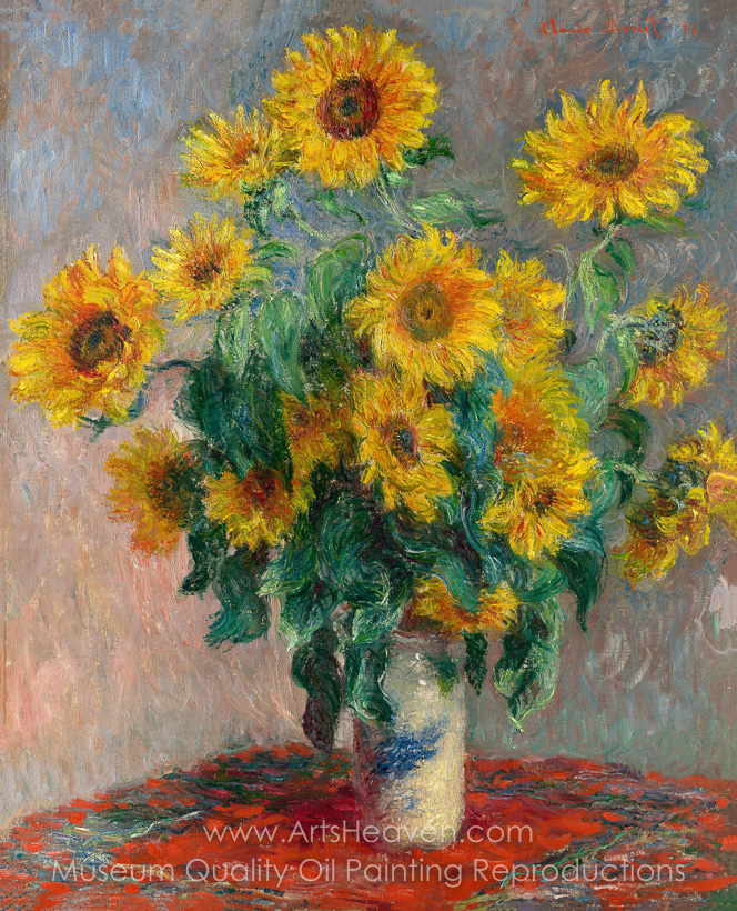 Reproduction Painting Claude Monet Bouquet of Sunflowers, Hand ...