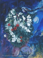 Bouquet with Flying Lovers painting reproduction, Marc Chagall (inspired by)