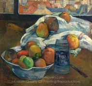 Bowl of Fruit and Tankard Before a Window painting reproduction, Paul Gauguin